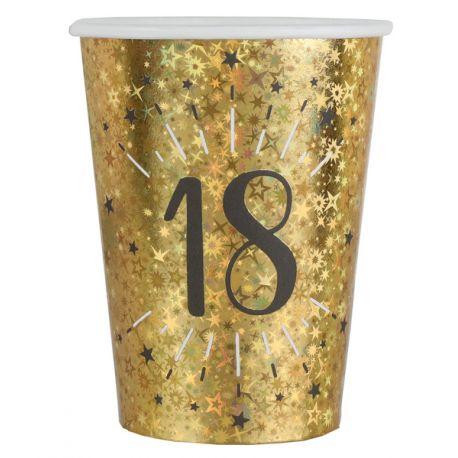 10 Gobelets Anniversaire or pailleté 18 ans pour la deco de votre fête d'anniversaire.Dimensions : Ø 7.8 x 9.7 cmMatière: Carton