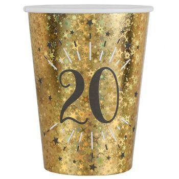 10 Gobelets Anniversaire or pailleté 20 ans