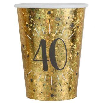 10 Gobelets Anniversaire or pailleté 30 ans