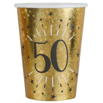 10 Gobelets Anniversaire or pailleté 50 ans