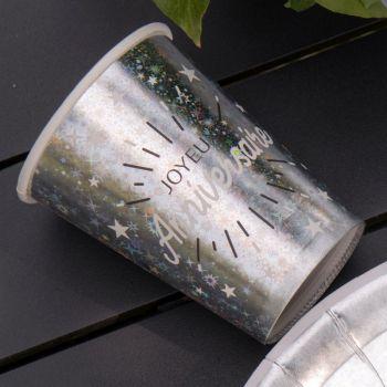 10 Gobelets étincellant métal Argent