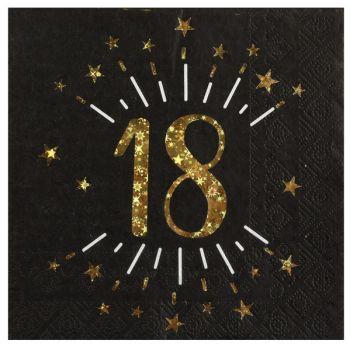 20 Serviettes étincellantes or 18 ans