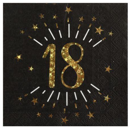 10 serviettes en papier noires avec décor métallisés or 18ans pour la décoration de votre table d 'anniversaireDimensions : 16.5 cm...
