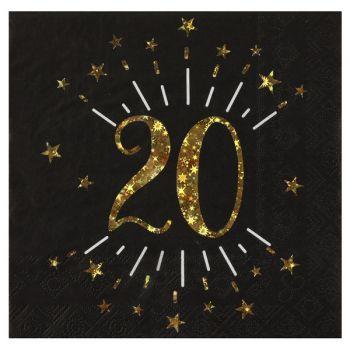 20 Serviettes étincellantes or 20 ans
