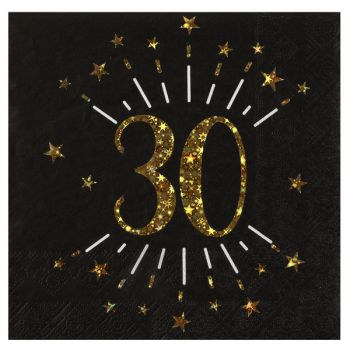 20 Serviettes étincellantes or 30 ans