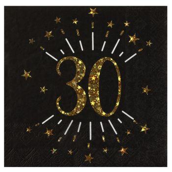 20 Serviettes étincellantes or 30 ans