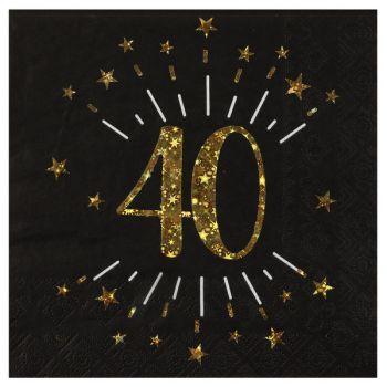 20 Serviettes étincellantes or 40 ans
