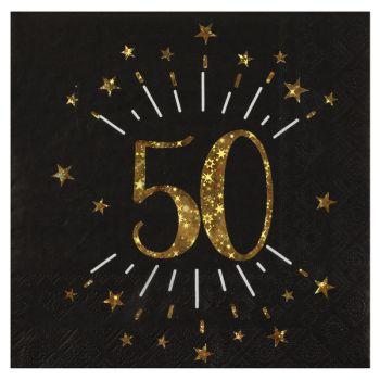 20 Serviettes étincellantes or 50 ans