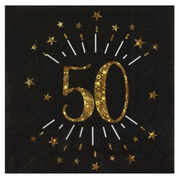 20 Serviettes étincellantes or 50 ans