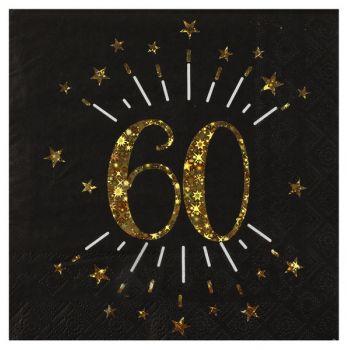 20 Serviettes étincellantes or 60 ans
