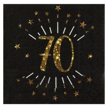 20 Serviettes étincellantes or 70 ans