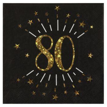 20 Serviettes étincellantes or 80 ans