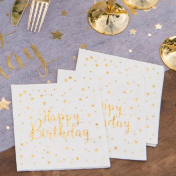 20 Serviettes happy Birthday or