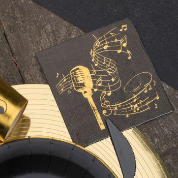20 Serviettes Musique d'or