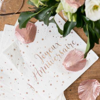20 Serviettes Joyeux Anniversaire Gold Rose