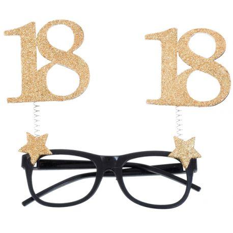 Lunette délire pailleté 18 ans pour votre fête d'anniversaire.Dimensions : 15 x 16 cm