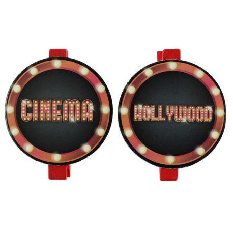 6 mini pinces décoré thème cinéma et holywoodpour votre deco de table ou fête.Dimensions : 5 x 5 cm