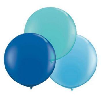 3 Ballons rond tons bleu Ø60cm