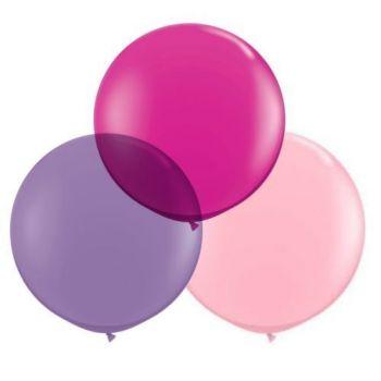 3 Ballons rond tons rose Ø60cm