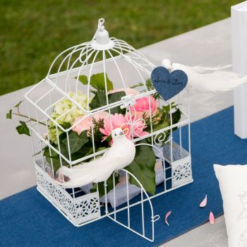 Decor de table cage blanche rectangle 34cm