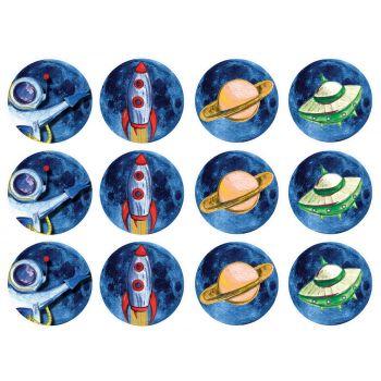 12 Mini disques en sucre Espace