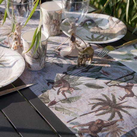 Chemin de table décor Jungle India pour la deco de votre table de fête ou d'anniversaire.Dimensions : Largeur 30 cm x longueur 5...