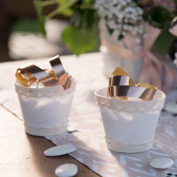4 Mini Panières blanches pour dragées