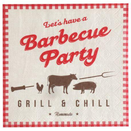 20 serviettes en papier thème Barbecue Party pour la deco de votre fête d'anniversaire.Dimensions : 16.5 x 16.5 cm / 33 x 33 cm