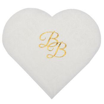 10 Serviettes coeur BB blanche