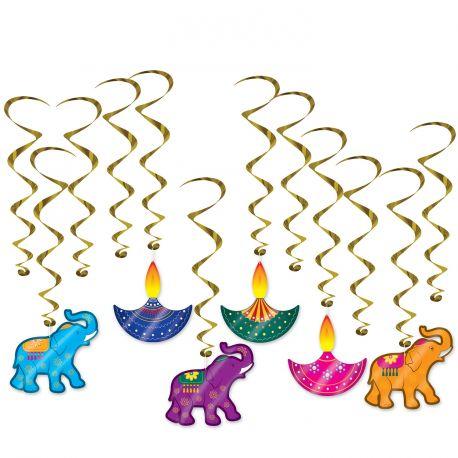 12 guirlandes tourbillons au décors indien pour une fête Diwali6 guirlandes sont avec des décors cartonnées et 6 guirlandes sont...
