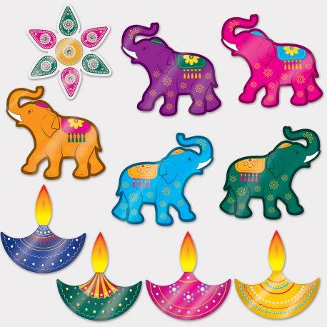 10 décors en carton décor indien pour une fête DiwaliLongueur: entre 25 et 30 cm