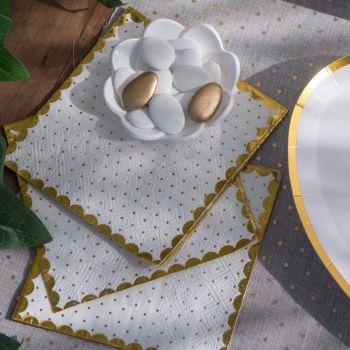 20 Serviettes blanche à pois or avec dorure