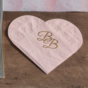 10 Serviettes coeur BB rose