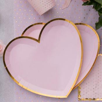 10 Assiettes coeur rose BB avec dorure