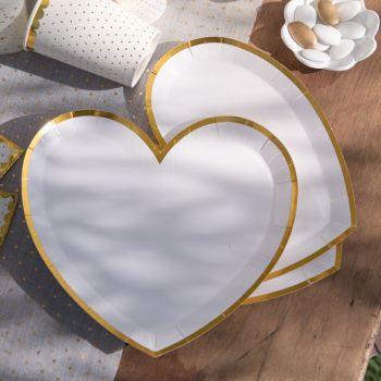 10 Assiettes coeur blanche avec dorure