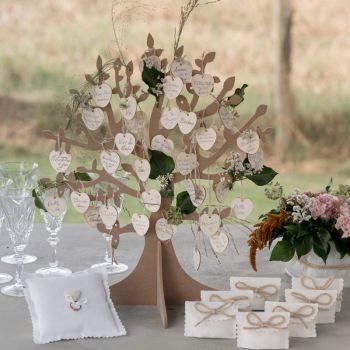 Décoration de table Arbre à voeux et 50 coeurs bois