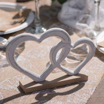 Décoration de table Coeurs blancs en bois