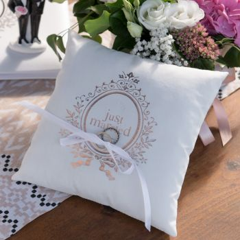 Coussin alliance Just Married Gold Rose