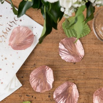 100 Pétales métallisé avec feuille rose gold en tissu
