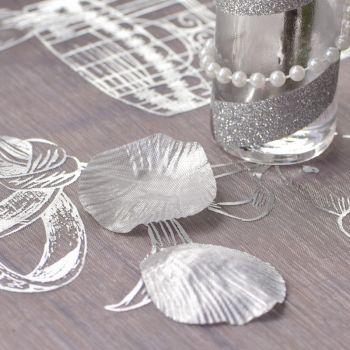 100 Pétales métallisé argent avec feuille en tissu