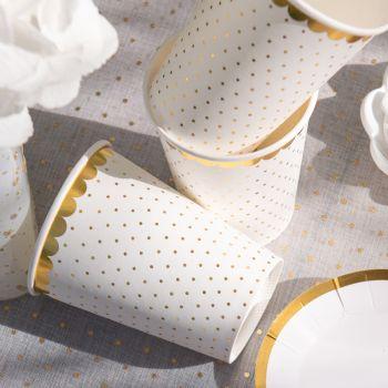 10 Gobelets blanc à pois or avec dorure