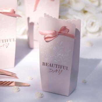 6 Boîtes carton & satin Rose Beautiful day