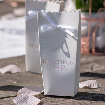6 Boîtes carton & satin blanche Beautiful day