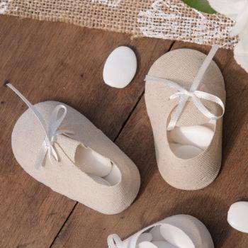 4 contenants chaussons bébé naturel pour dragées