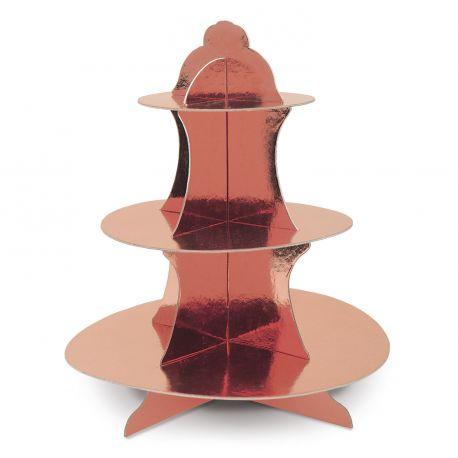 Beau présentoir à cupcakes ou petits gâteaux de couleur gold rose brillantEn carton à monter soi même très rapidementDimensions:...