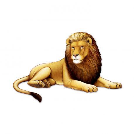 Superbe décor en carton en forme de lion pour agrémenter un décor de fête d'anniversaire sur le thème de la jungle, le zoo, le...