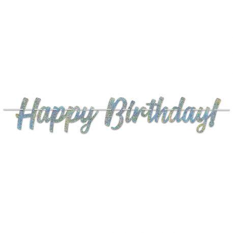Banderole plastifiée Happy Birthday pailleté pour la deco de salle de votre anniversaire.Dimensions : 1.5 Mètres x 21 cm
