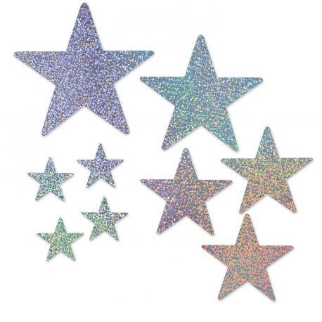 9 Décors étoiles pailletés recto verso pour la deco de votre salle de fête.4 tailles différentes.Dimensions : entre 12.5 et 38 cm