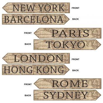 4 panneau de destination de voyage