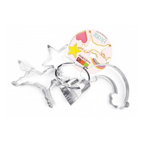 4 Découpoirs sur cintre en inox : 1 licorne, 1 étoile, 1 coeur et 1 arc en ciel pour réaliser des biscuits aux formes originales et...